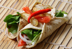Vegetable chapatti rolls Royalty Free Stock Photos