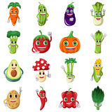 Vegetable character icons Stock Photo
