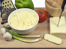 Vegetable and cheese for a pizza Royalty Free Stock Images