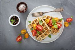 Vegetable and cheese savory waffles royalty free stock photos