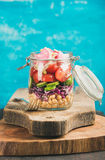 Vegetable and chickpea sprout vegan salad in jar, copy cpace Royalty Free Stock Image