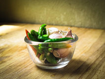 Vegetable. Chili and garlic on a wooden Stock Image
