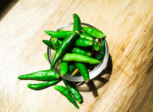 Vegetable. Chili and garlic on a wooden Royalty Free Stock Photo