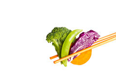 Vegetable with chopsticks Royalty Free Stock Photo