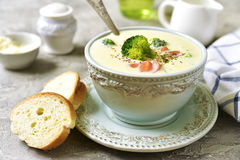 Vegetable chowder with cheese in a blue vintage bowl. Stock Image