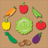 Vegetable circle. Circle composition of popular vegetables Stock Photos