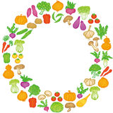 Vegetable circle frame. Stock Photo