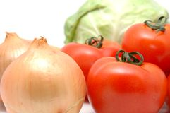 Vegetable collection - onion & tomato Stock Image