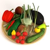 Vegetable  collection on plate Royalty Free Stock Images