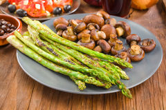 Vegetable combination plate of asparagus Royalty Free Stock Images