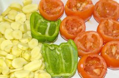 Vegetable, cook. An several vegetables for cook, spud, pepper, tomato. colour, horizontal royalty free stock images