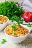 Vegetable Couscous on Bright Background royalty free stock images