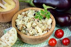 Vegetable couscous , eggplant couscous , crumbly cous cous with Stock Photo