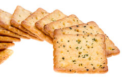 Vegetable crackers isolated on white Stock Photos