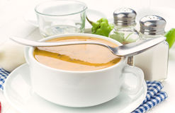 Vegetable cream bowl on wooden table Royalty Free Stock Image