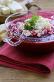 Vegetable cream soup of beetroot with soft cheese Stock Photos
