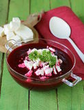 Vegetable cream soup of beetroot with soft  cheese Stock Photography