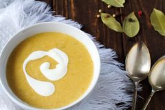 Vegetable cream soup. In bowl Royalty Free Stock Images