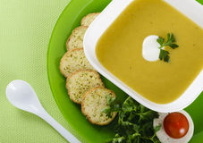 Vegetable cream soup with crackers Royalty Free Stock Photo