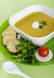Vegetable cream soup with crackers Stock Image