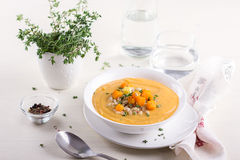 Vegetable cream soup with pumpkin and barley Stock Photography