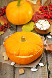Vegetable cream soup in pumpkin Stock Photo