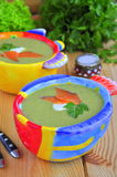 Vegetable cream soup with a salmon Stock Images