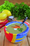 Vegetable cream soup with a salmon Stock Image