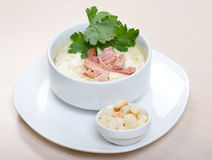 Vegetable cream soup with smoked meat Royalty Free Stock Photos