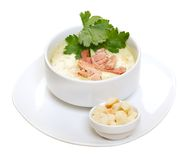 Vegetable cream soup with smoked meat Stock Photos
