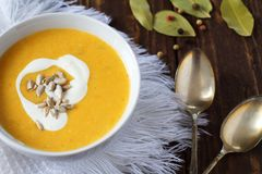 Vegetable cream soup. In bowl Stock Photo
