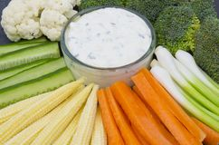 Vegetable Crudites and Dip Stock Image