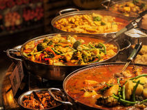 Vegetable curry. Indian takeaway at a London's market stock photography