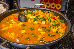 Vegetable curry. Street food vegetable curry cooking royalty free stock photo