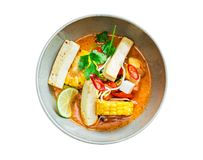 Vegetable curry with tofu. Isolated on white background Stock Photography
