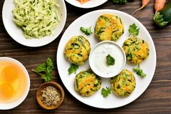 Vegetable cutlet from carrot, zucchini, potato Stock Photos