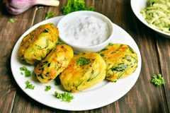 Vegetable cutlet from carrot, zucchini, potato Stock Photo
