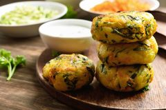 Vegetable cutlet from carrot, zucchini, potato. With sauce. Healthy diet food concept. Close up view royalty free stock photography