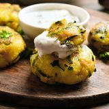 Vegetable cutlet from carrot, zucchini, potato Royalty Free Stock Images