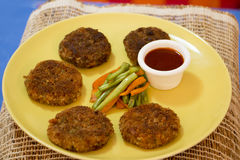 Vegetable cutlet with glazed vegetables Stock Photo