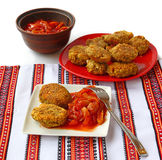 Lean dinner, chops from nuts and vegetable stew, lecho Royalty Free Stock Images
