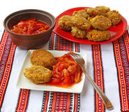 Vegetable cutlets of chick peas and vegetable stew, lecho Stock Images