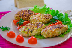 Vegetable cutlets coated in oatmeal Stock Photo
