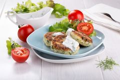 Vegetable cutlets from zucchini stock image