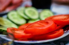 Vegetable cutting is the best snack on the table royalty free stock images