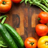 Vegetable and Cutting Board Border Square Royalty Free Stock Photography