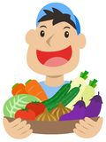 Vegetable delivery man. Fresh vegetable smiling delivery man Royalty Free Stock Image