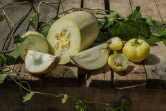 Vegetable on the desk of wood Stock Images