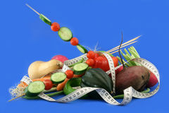 Vegetable diet. The dietary panel from vegetables for interested persons to grow thin Stock Photography