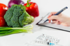 Vegetable diet nutrition or medicaments concept royalty free stock images